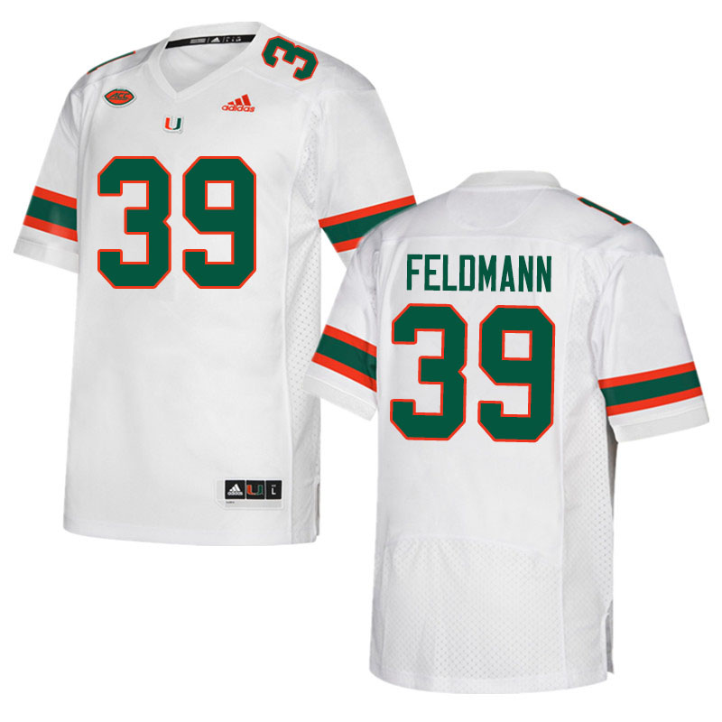 Adidas Miami Hurricanes #39 Gannon Feldmann College Football Jerseys Sale-White